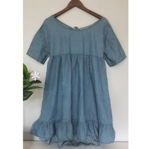 New Open Back Boutique Chambray Dress